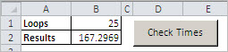 The control area for the Excel calculation timer.