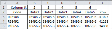 The testing sheet for INDEX-MATCH in two formulas, with sorted data