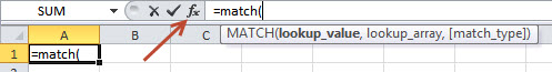 Excel shortcut to get help for a worksheet function.