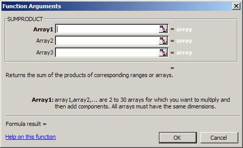 Excel's Function Arguments dialog.