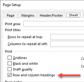 The Page Setup dialog with row and column headings checked.