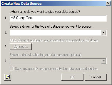 Enter a name for your connection in the Create New Data Source dialog.