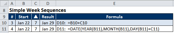 Date calculations for Excel weeks