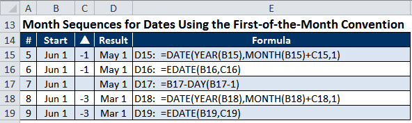Examples of Excel Month Sequences