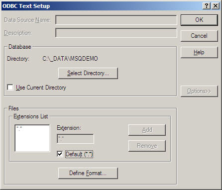 Clicking the Options>> button will expand the dialog to this version.