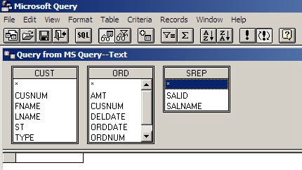 Each table is displayed in the top pane of the MS Query interface, with its list of fields.