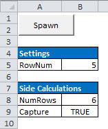 The Control sheet where workbook-scoped settings and calculations reside.