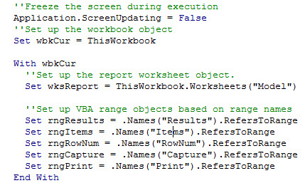 The macro freezes the screen and then defines the worksheet and range objects.