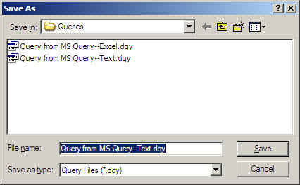 Save the query