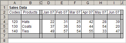 A Graycell Database design in Excel, which you can use when as an alternative to Excel Tables.