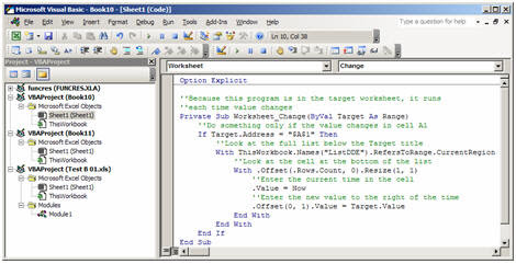 The Visual Basic Editor in Microsoft Excel, with the complete VBA macro shown.