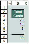 An example of Excel's automatic solution for avoiding the Lotus error.