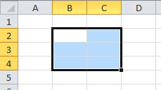 A simple range selection in Excel