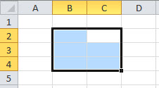 An Excel range, with the active cell shifted clockwise