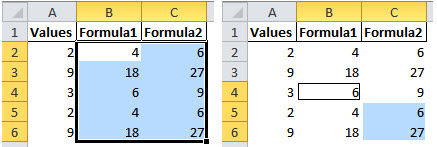 An example of using Excel's column differences option in the Go To Special dialog.