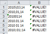 Example of Excel's DATEVALUE function.