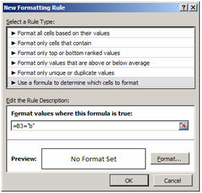 An illustration of using a formula to set conditional formatting.
