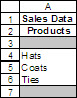 Sample data for the lookup functions.