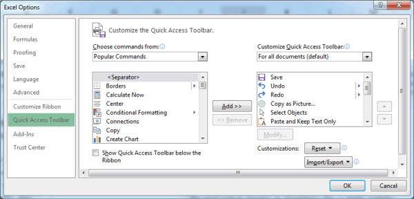 The QAT tab of the Excel Options dialog.