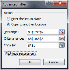 The advanced filters dialog.