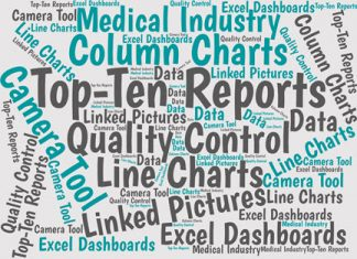 These example dashboards—prepared by an Excel-using employee—use charts and tables to show top-ten results for a medical device company.