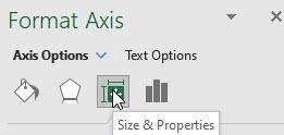 Excel's Size & Properties pane.