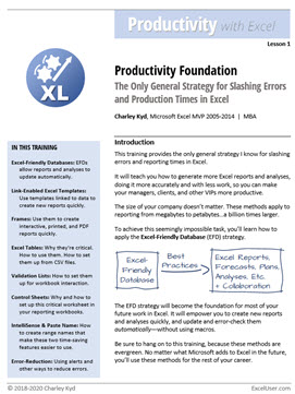 The first page of Productivity, Lesson 1. It introduces you the the Productivity Foundation, the Only General Strategy for Slashing Errors and Production Times in Excel.