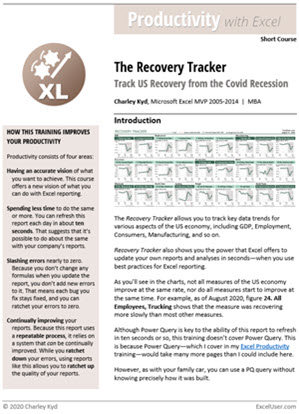 The Recovery Tracker Excel training teaches best practices for dashboard reporting.