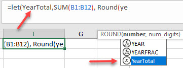 You can use IntelliSense to use names you've previously defined in Excel's LET functions.