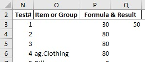 The formula in cell P6 uses the INDIRECT function to reference the account group ag.Clothing.