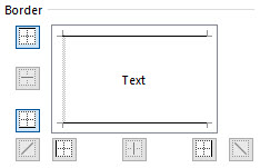 Being careful not to disturb the left border, set the top and bottom borders as shown.