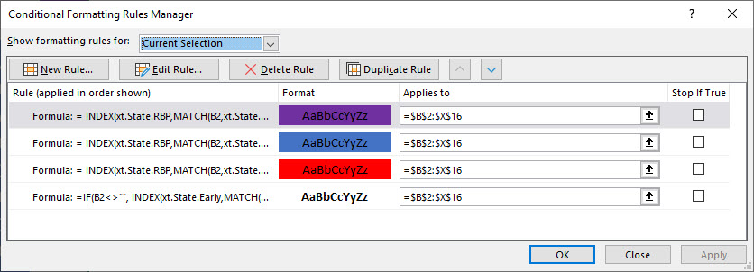 This dialog applies the four conditional-formatting rules needed to support the square map.