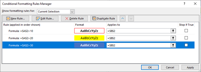 The Conditional Formatting Rules Manager with the Test 1 Setup