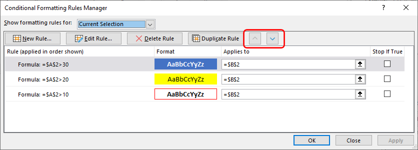 The Conditional Formatting Rules Manager with the Test 2 Setup