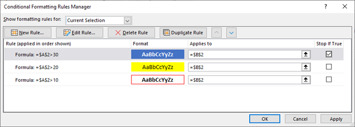The Conditional Formatting Rules Manager with the Test 3 Setup