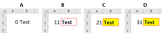 The results of four tests of the Conditional Formatting Rules Manager