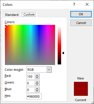 To change the color of the selected states, choose any color and then choose OK.