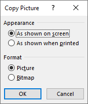 The Copy Picture Dialog gives you several choices about how you want your picture formatted.
