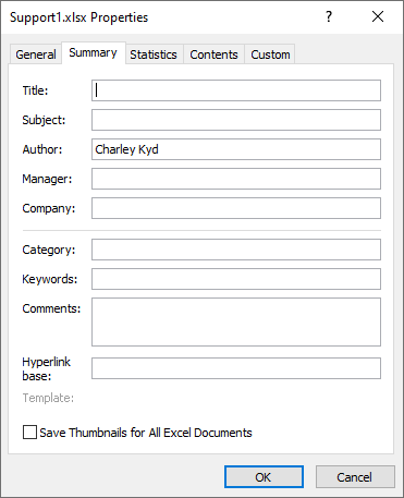 Excel's Advanced Properties Dialog allows you to save tags, categories, and searchable descriptions of your file.