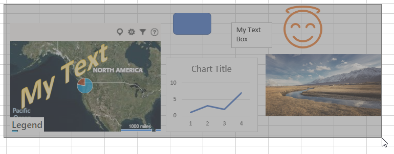 The Select Objects tool can select any object: shapes, icons, charts, images, maps, SmartArt objects, etc.